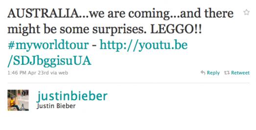 Bieber Tweet About Brown