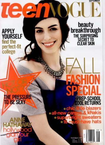 Anne Hathaway poses on the cover of Teen Vogue.