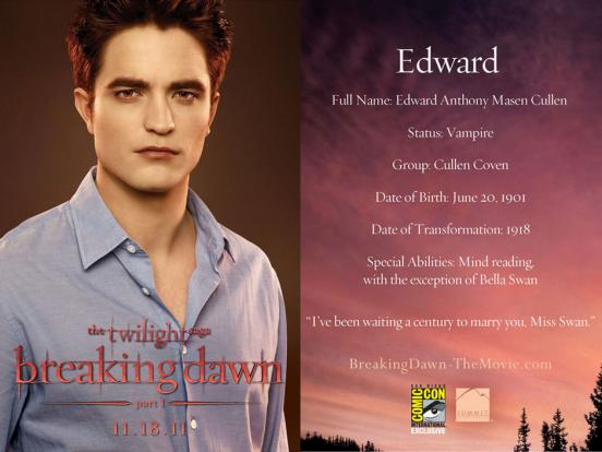 Celeb Gossip » Breaking Dawn Comic-Con Character Cards: Revealed!