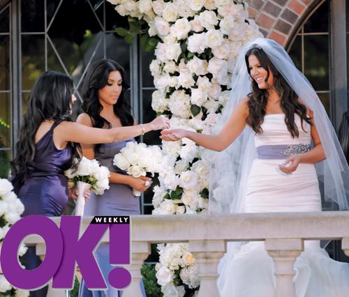 Kourtney Khloe and Kim Kardashian share a toast at Khloe 39s wedding to Lamar