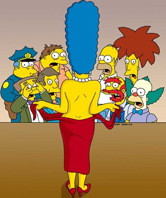 Marge Simpson goes topless on The Simpsons. Woman had some pretty big ...