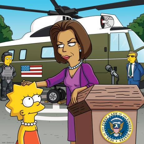 Michelle Obama and Lisa Simpson. Lisa gets a pat on the brain from the First ...