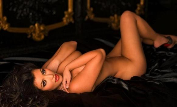 This photo of a nude Kim Kardashian is taken from her Playboy spread.