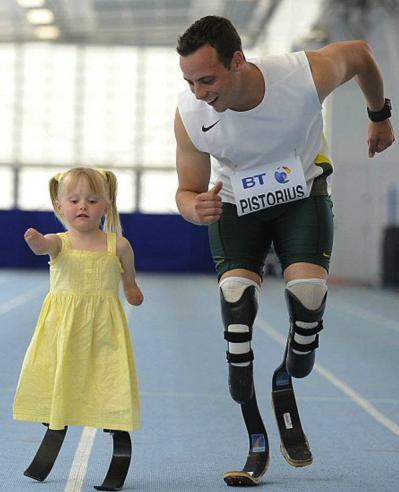 Oscar Pistorius Runs With Girl