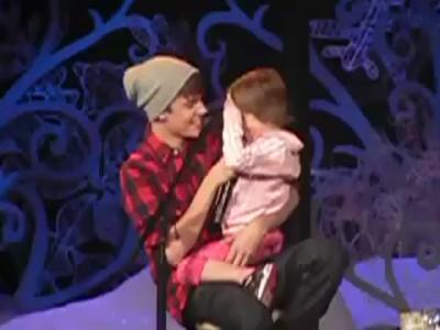 Justin Bieber and Sister on Stage